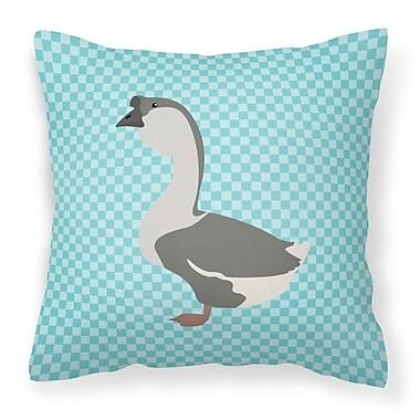 East Urban Home Goose Check Outdoor Throw Pillow; Blue