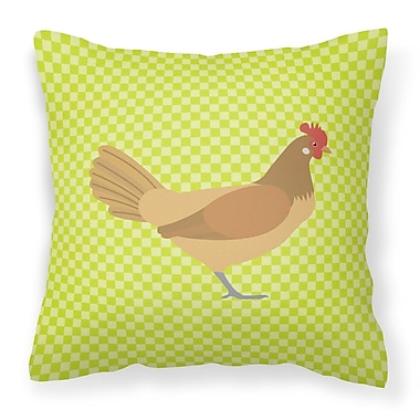 East Urban Home Chicken Check Outdoor Throw Pillow; Green