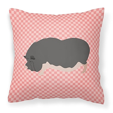 East Urban Home Pot-Bellied Pig Outdoor Throw Pillow; Pink