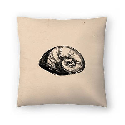 East Urban Home Jetty Printables Illustrated Sea Shell 2 Throw Pillow; 16'' x 16''