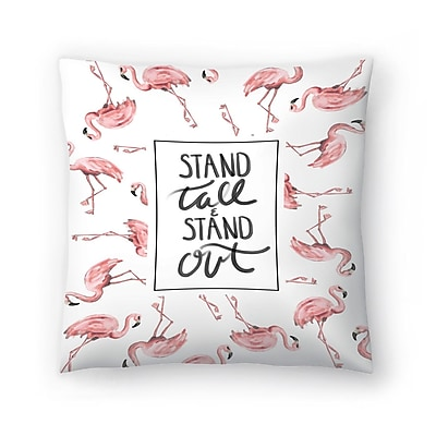 East Urban Home Jetty Printables Stand Tall and Stand Out Flamingo Typography Throw Pillow