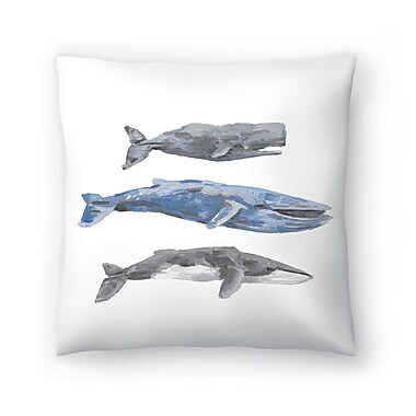 East Urban Home Jetty Printables Whale Painting Trio 2 Throw Pillow; 14'' x 14''