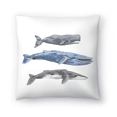 East Urban Home Jetty Printables Whale Painting Trio 2 Throw Pillow; 16'' x 16''