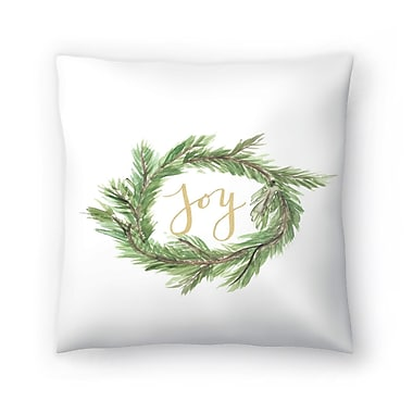 East Urban Home Jetty Printables Wreath Joy Throw Pillow; 16'' x 16''