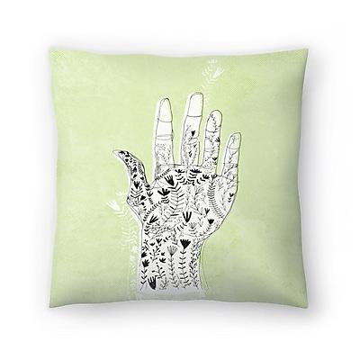 East Urban Home Paula Mills Floral Hand Throw Pillow; 14'' x 14''