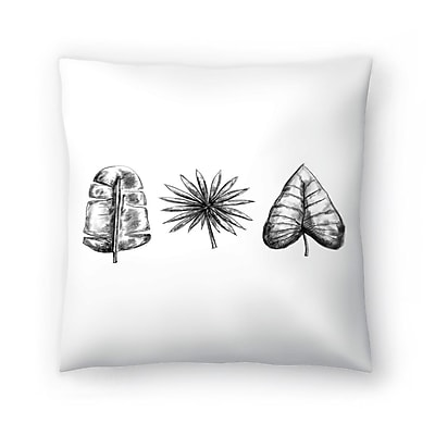 East Urban Home Jetty Printables Palm Leaf Trio Throw Pillow; 16'' x 16''