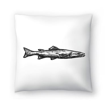 East Urban Home Jetty Printables Trout Illustration Throw Pillow; 14'' x 14''