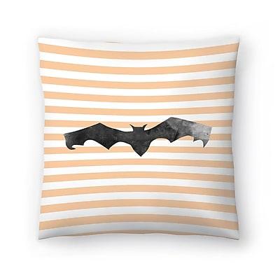 East Urban Home Jetty Printables Halloween Striped Bat Throw Pillow; 18'' x 18''