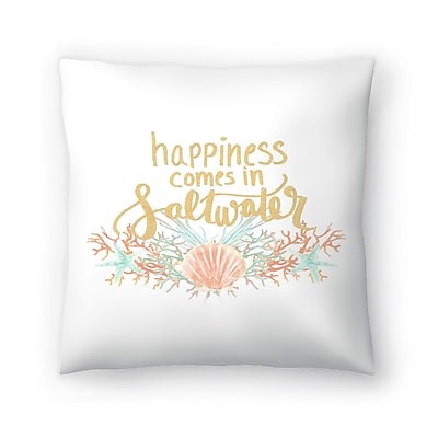 East Urban Home Jetty Printables Happines Comes in Saltwater Typography Throw Pillow; 20'' x 20''