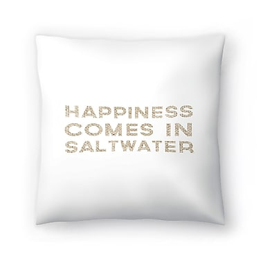 East Urban Home Jetty Printables Happiness Comes in Saltwater Coastal Typography Throw Pillow