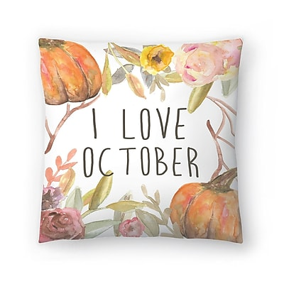 East Urban Home Jetty Printables I Love October Throw Pillow; 18'' x 18''
