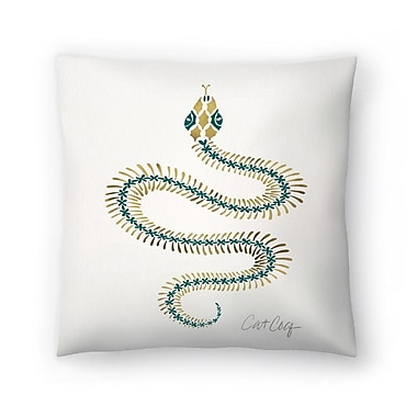 East Urban Home Cat Coquillette Serpent Skelet on Emerald Throw Pillow; 16'' x 16''
