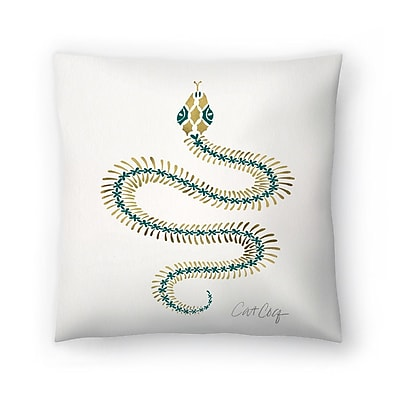 East Urban Home Cat Coquillette Serpent Skelet on Emerald Throw Pillow; 20'' x 20''