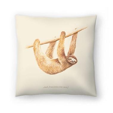East Urban Home Florent Bodart Css Animals Sloth Throw Pillow; 14 ''x 14''