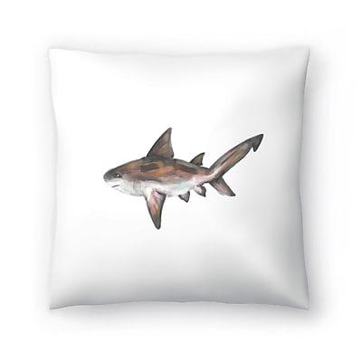 East Urban Home Jetty Printables Bull Shark Single Painting Throw Pillow; 14 ''x 14''