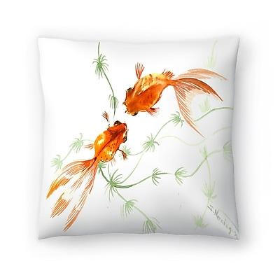 East Urban Home Suren Nersisyan Feng Shui fish Koi 2 Throw Pillow; 14'' x 14''