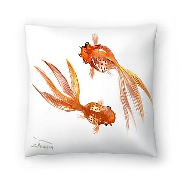 East Urban Home Suren Nersisyan Feng Shui fish Koi 3 Throw Pillow; 14'' x 14''
