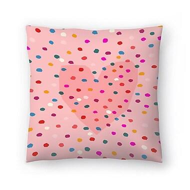 East Urban Home Paula Mills Rainbow Dotty Heart Throw Pillow; 16'' x 16''