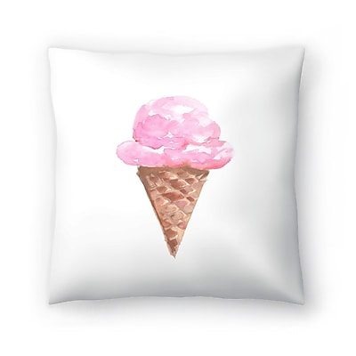 East Urban Home Jetty Printables Watercolor Ice Cream Cone Throw Pillow; 14'' x 14''