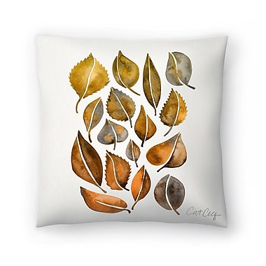 East Urban Home Cat Coquillette Rusy Fall Leaves Throw Pillow; 18'' x 18''