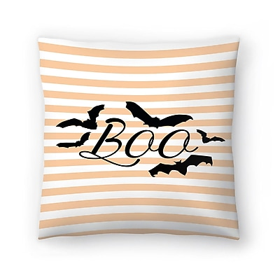 East Urban Home Jetty Printables Boo w/ Bats Throw Pillow; 16'' x 16''