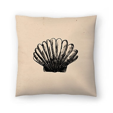 East Urban Home Jetty Printables Illustrated Sea Shell 3 Throw Pillow; 18'' x 18''