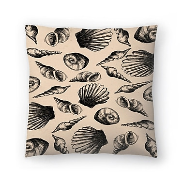East Urban Home Jetty Printables Illustrated Sea Shell Pattern Throw Pillow; 14 ''x 14''
