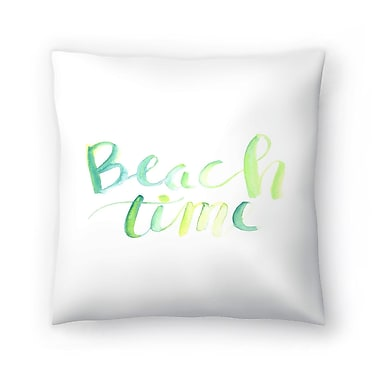 East Urban Home Jetty Printables Watercolor Beach Time Typography Throw Pillow; 18'' x 18''