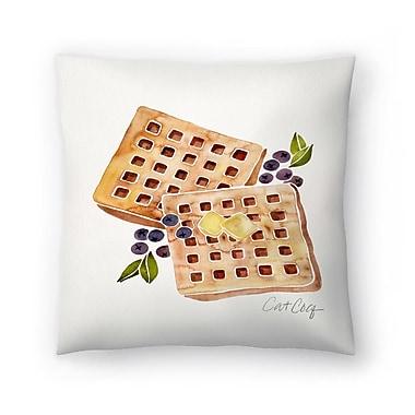 East Urban Home Cat Coquillette Blueberry Breakfast Waffles Throw Pillow; 16'' x 16''