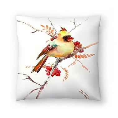 East Urban Home Suren Nersisyan Cardinal Bird and Berries Throw Pillow; 20'' x 20''