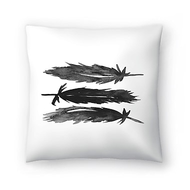 East Urban Home Jetty Printables Watercolor Feathers Throw Pillow; 20'' x 20''