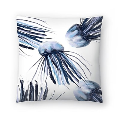 East Urban Home Jetty Printables Jellyfish Watercolor Throw Pillow; 20'' x 20''