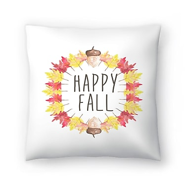 East Urban Home Jetty Printables Happy Fall Typography Throw Pillow; 20'' x 20''