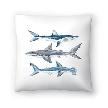 East Urban Home Jetty Printables Painted Shark Trio 1 Throw Pillow; 18'' x 18''