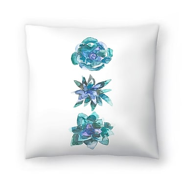 East Urban Home Jetty Printables Watercolor Succulent Trio Throw Pillow; 18'' x 18''