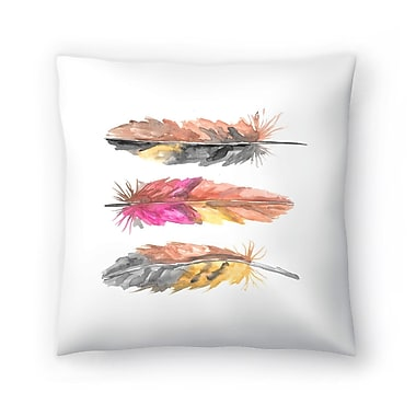 East Urban Home Jetty Printables Watercolor Boho Feather Trio 1 Throw Pillow; 14'' x 14''