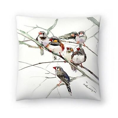 East Urban Home Suren Nersisyan Zebrafinches Throw Pillow; 14'' x 14''