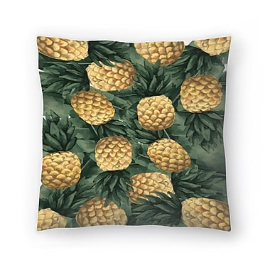 East Urban Home Jetty Printables Pineapple and Tropical Botanicals Throw Pillow; 18'' x 18''