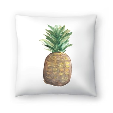 East Urban Home Jetty Printables Pineapple Watercolor Throw Pillow; 14'' x 14''