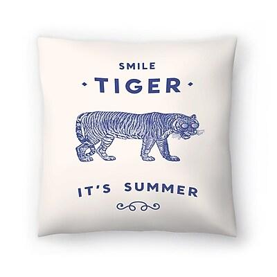 East Urban Home Florent Bodart Smile Tiger Throw Pillow; 20'' x 20''
