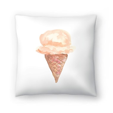 East Urban Home Jetty Printables Coffee Watercolor Ice Cream Cone Throw Pillow; 18'' x 18''