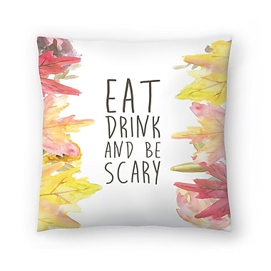 East Urban Home Jetty Printables Eat Drink and be Scary Halloween Print Throw Pillow; 14'' x 14''
