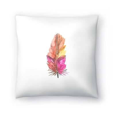 East Urban Home Jetty Printables Feather Watercolor Painting Throw Pillow; 18'' x 18''