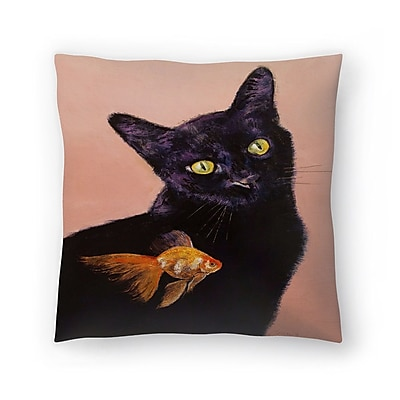 East Urban Home Michael Creese Cat and fish Throw Pillow; 14'' x 14''