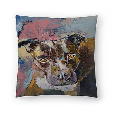 East Urban Home Michael Creese Brindle Pit Bull Throw Pillow; 16'' x 16''