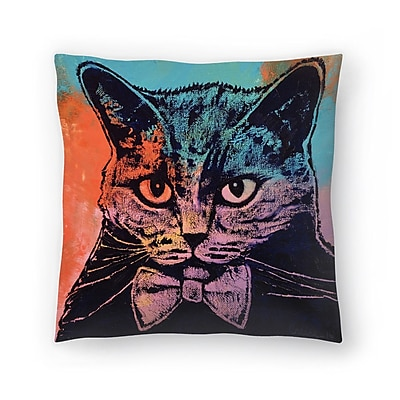 East Urban Home Michael Creese Old School Cat Throw Pillow; 16'' x 16''