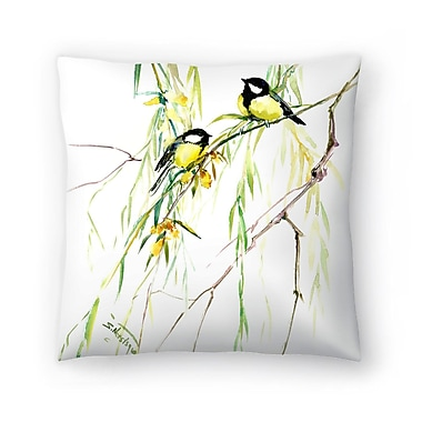 East Urban Home Suren Nersisyan Great Tits and Willow Throw Pillow; 18'' x 18''