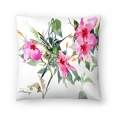 East Urban Home Suren Nersisyan Hibuscus and Hummingbird Throw Pillow; 14'' x 14''