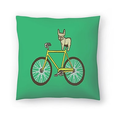 East Urban Home Joe Van Wetering Frenchie on a Fixie Throw Pillow; 16'' x 16''