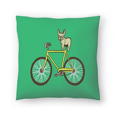 East Urban Home Joe Van Wetering Frenchie on a Fixie Throw Pillow; 20'' x 20''